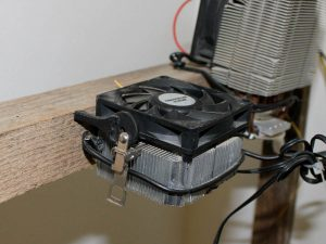 CPU cooler, attached to the wooden frame